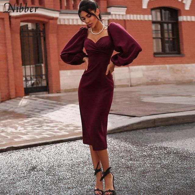 Nibber sexy pure V Neck off shoulder bodycon dress women autumn winter club party night red Elegant midi dress Mujer black dress 1