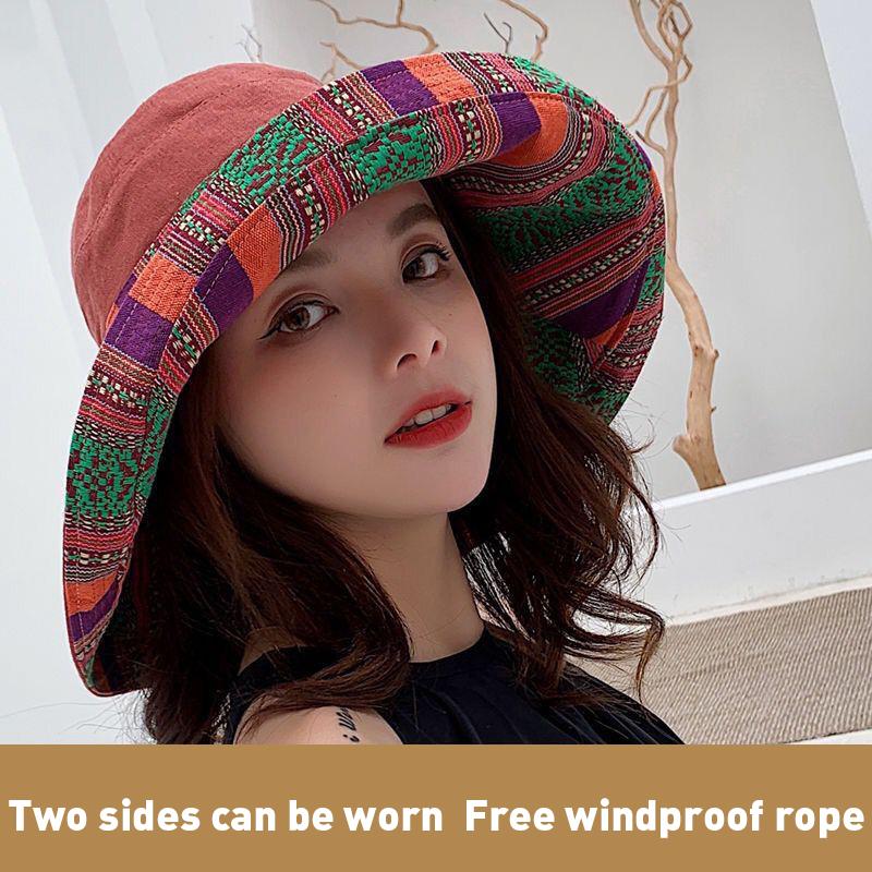 K41 Panama For Women Double Sided Fisherman Hat Women's Summer Hat Panama 2021 Sun Hat Sombrero Face Hats Sun Visor  Face Cap