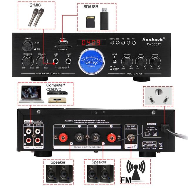 Усилитель мощности SUNBUCK AV-505AT, Bluetooth, USB, FM