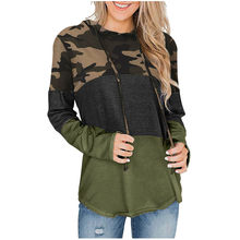 Oversize Camouflage Print Capuchon Sweater Womens Patchwork Trekkoord Capuchon Mantel Dames Zweet Shirt Blouse Toos Trui(China)