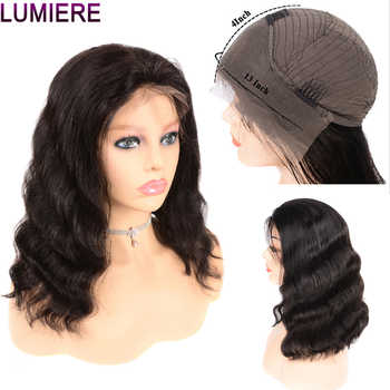 Lumiere Hair Peruvian Body Wave 13X4 Lace Front Human Hair Bob Wig Pre Plucked With Baby Hair Non-Remy Free Part Natural Black - DISCOUNT ITEM  58% OFF ヘアエクステンション & ウィッグ