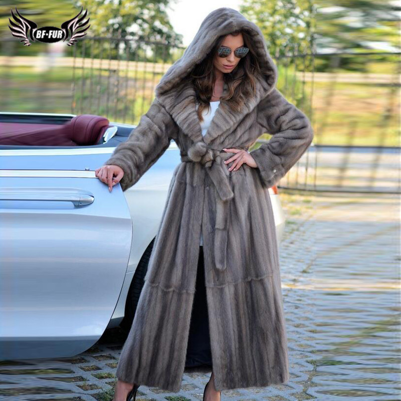 130cm Long Winter New Real Mink Fur Coat With Hood Natural Women Wholeskin Genuine Mink Fur Coat With Fur Belt Luxury Overcoats