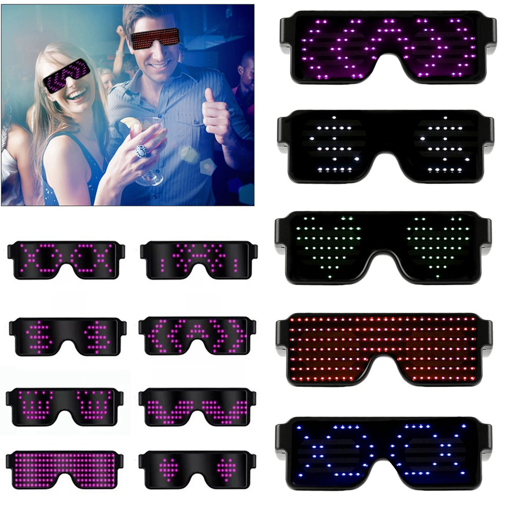 Magic Bluetooth Led Glasses DIY APP Control BT Wireless Connection Illuminating Glasses Multilingual Quick Flash Led USB Charge