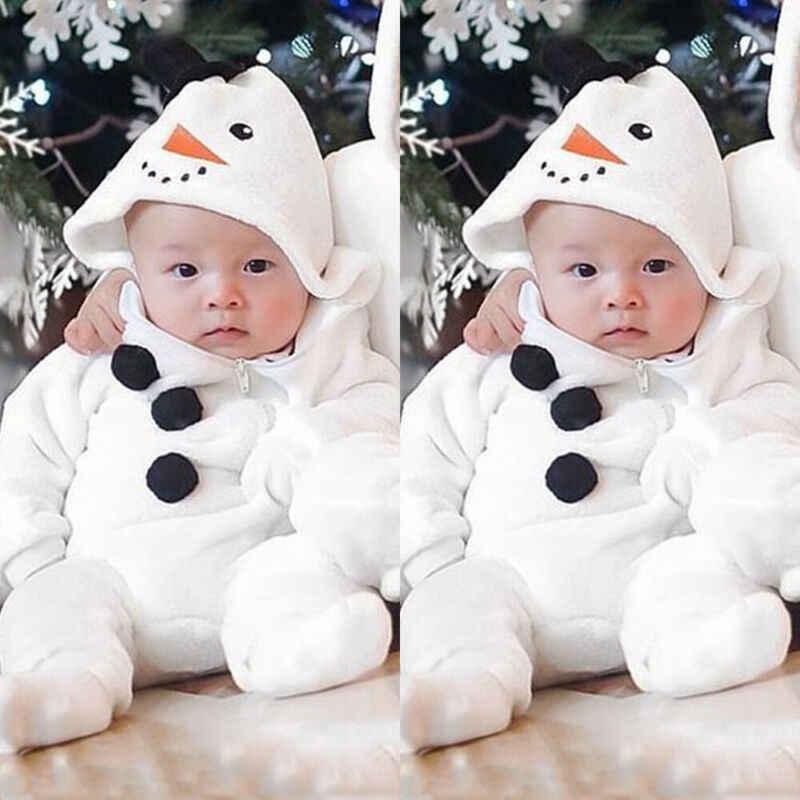 2019 moda recién nacido bebé niña otoño invierno cálido mameluco borroso sudaderas con capucha monos ropa