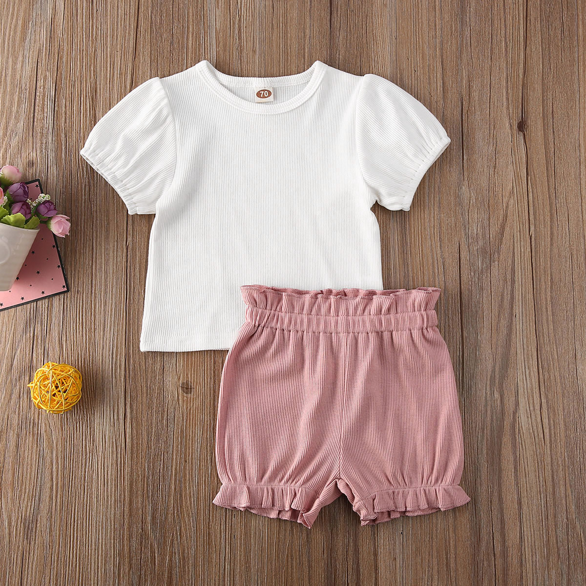 Summer infant newborn baby girl summer clothes puff short sleeve tops shirt shorts bottoms 2pcs solid clothes summer outfits