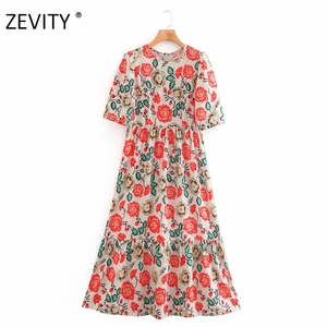 Zevity women vintage flower print pleats a line midi dress elegant lady short sleeve vestido chic casual slim party dress DS4226