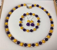8-8,5mm Goldene Akoya Zuchtperlen/Amethyst Armband Halskette Ohrringe Set (A0423)(China)