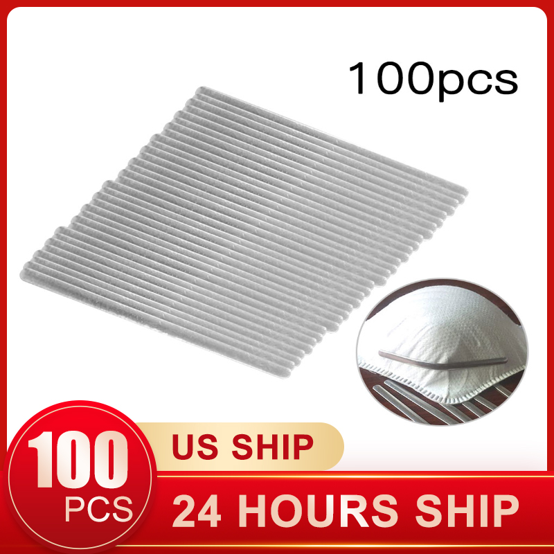 100 Pcs Nose Bridge Strips Adjustable Elastic Nose Bridge Clips For Masks DIY Manufacturing Aluminum Mask Bands Face Mask Rope