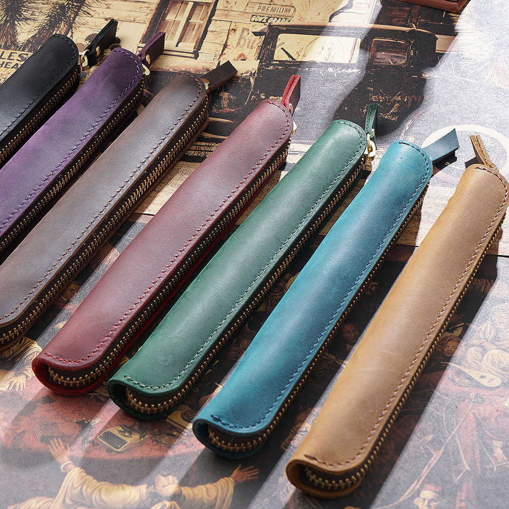 Genuine Leather Zipper Pen Bag Mini Small Pencil Case Apple Electronic Writing Pen Protective Sheath Creative Vintage Style