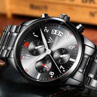 CADISEN-reloj deportivo para hombre, de cuarzo, de negocios, militar, de acero inoxidable, resistente al agua, con calendario para bañera para nadar