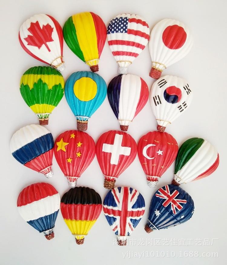 1Pc Resin Fridge Magnets Hot Air Balloon Shape Magnet Refrigerator Decor China France America Japan Logo Ball  Message Sticker