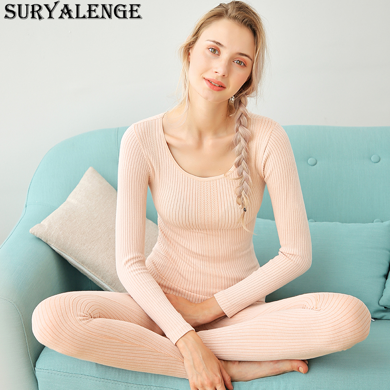 Female Cotton Round Neck Striped Thermal Underwear For Autumn Winter Seamless Body Autumn Pants Set Women's Thermal Underwe Set