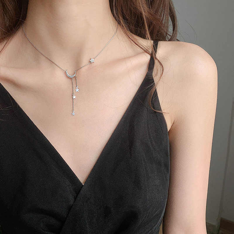 Prata cor estrela lua borla colares para mulher gargantilha colares jóias de casamento