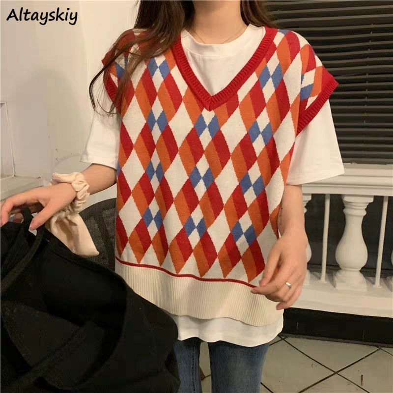 Vests Women Spring New Arrival Red Argyle Retro Patchwork Street Style Ulzzang Student Girls Knitwear Fashion Tank Tops Chic Hot