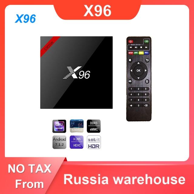 X96 Android 7,1 Dispositivo de TV inteligente WiFi S905W conjunto de cuatro núcleos Top Box 4K Media Player X 96 X96W Set top Box