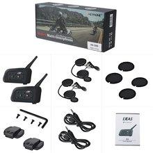 2 pcs Motorcycle Bluetooth Intercom Headset 1200m Communication Range Helmet Between 6 Motorcyclists