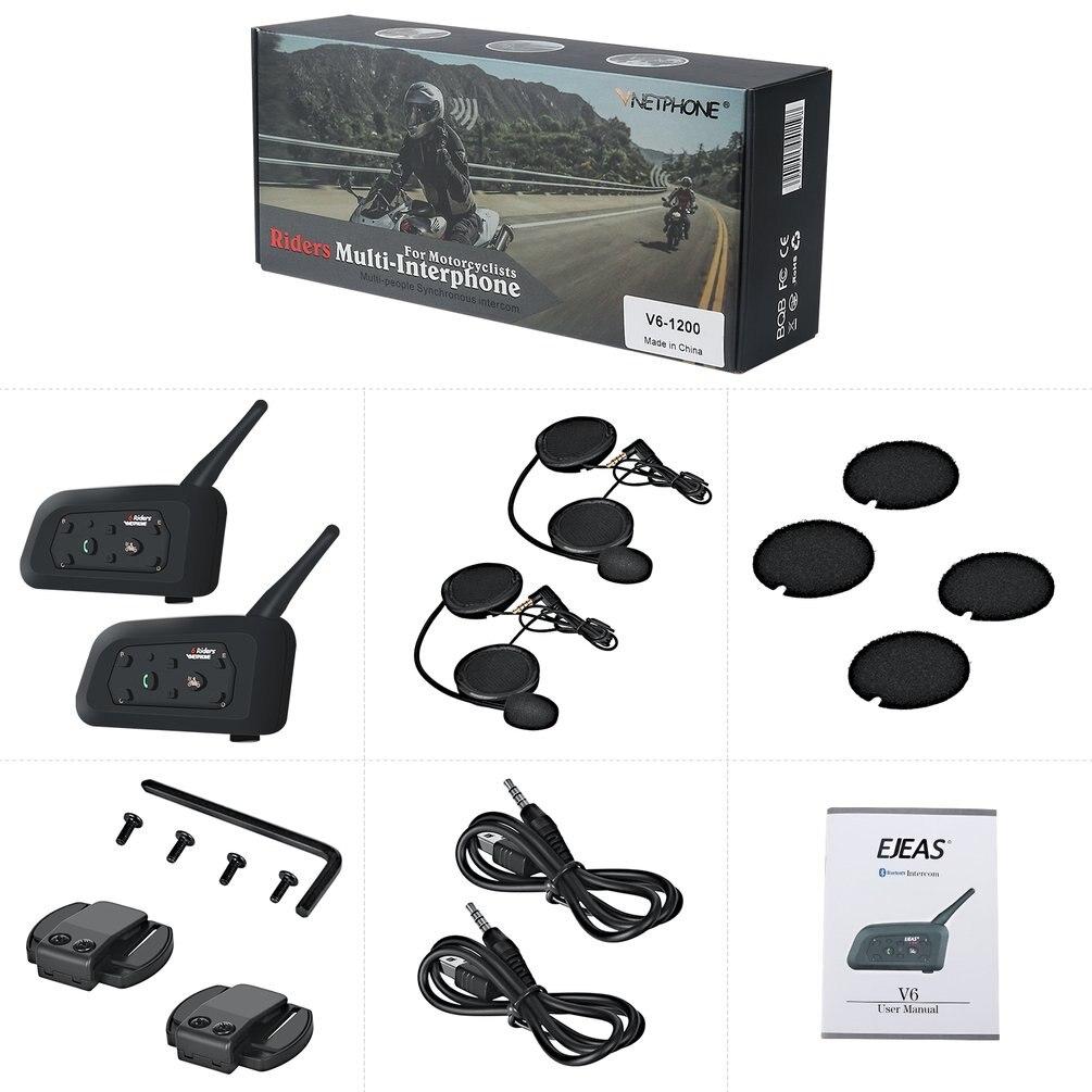2 pièces moto Bluetooth interphone casque 1200m interphone Communication Range casque interphone interphone entre 6 motards