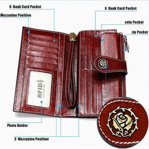 Image 3 - High Quality Cowide Leather Women Wallet Retro Natural Skin Long Zipper Coin Bag Carteira Feminina Big Capacity Purse For Women