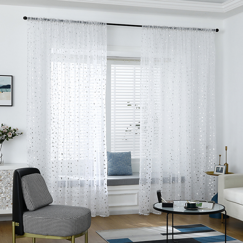 Triangle Print Tulle Curtains For Children's Bedroom Kids Window Treatments Sheer For Living Room Finished Customization