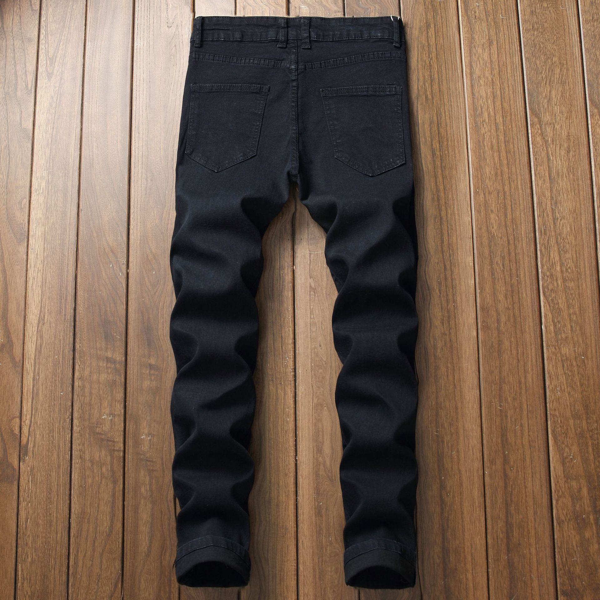 Men With Holes Slim Fit Pants Embroidery Black Jeans Trend Of Fashion Men's Stretch Pants