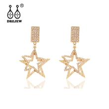 DREJEW Square Star Shiny Rhinestone Statement Earrings 2019 Gold Silver 925 Drop Sets for Women Wedding Jewelry HE849