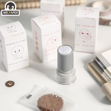 Mr Paper 4 Designs Ins Style Lovely Business Series Cute Push Type Toy Stamps Scrapbooking Hand Account Decoration DIY Material