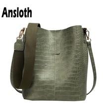 Ansloth Luxury Crocodile Handbag Women Solid Color Bucket Bag Adjustable Shoulder Lady Large Capacity Crossbody HPS704