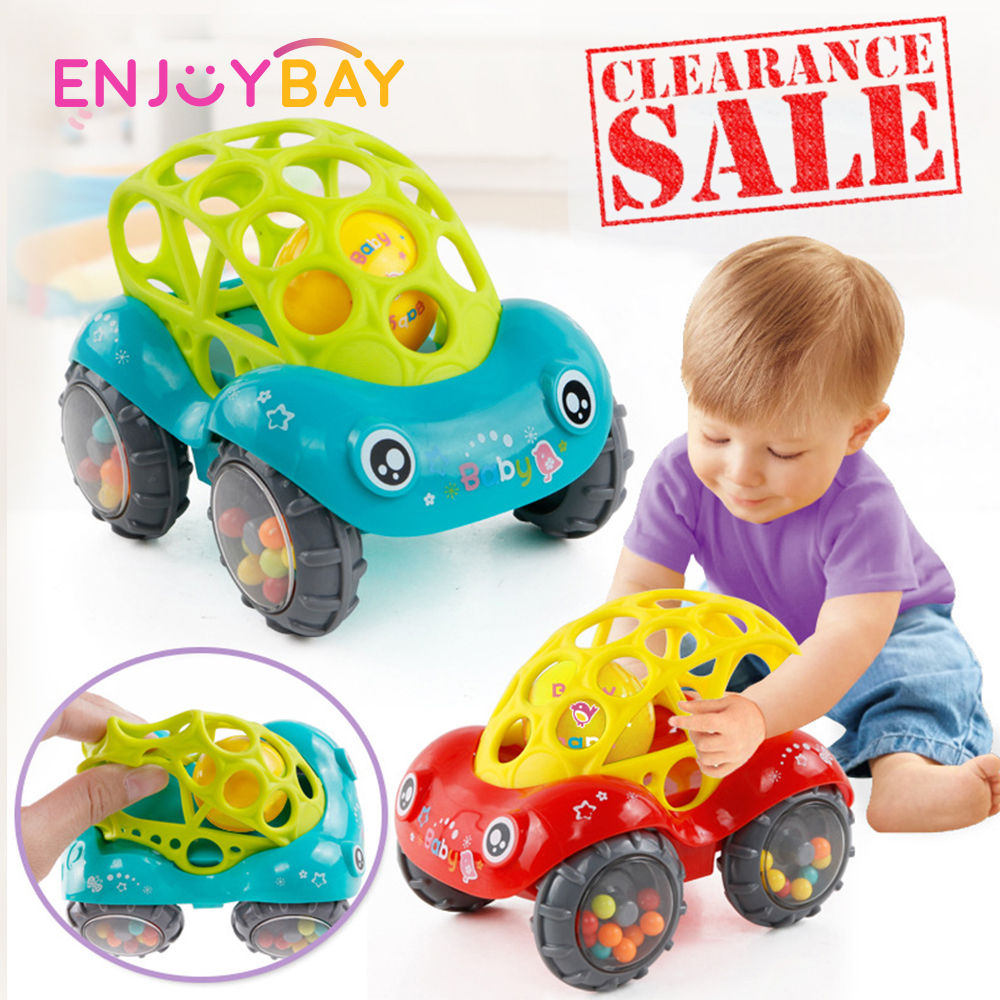 Kids Hand Shaking Bell Car Rattles Toys Plastic Hand Bell Hammer Educational Gift Baby Rattle Roll Car Ball Play Toy Game Gift