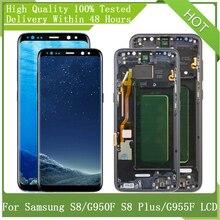 Do SAMSUNG GALAXY S8 G950 G950F S8Plus G955 G955F z ramką SUPER AMOLED ekran wyświetlacz LCD wymiana Digitizer zgromadzenie