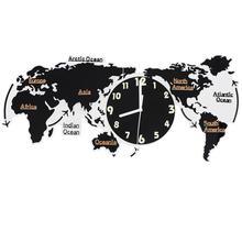 Akrylowy cichy ścienny zegar ścienny mapa świata ścienny wyciszenie zegara kinkiet bez baterii do domowego biura salon mapa świata zegar tanie tanio CN (pochodzenie) Nowoczesne wall clock GEOMETRIC Z tworzywa sztucznego Pojedyncze twarzy Badania Oddziela Akrylowe