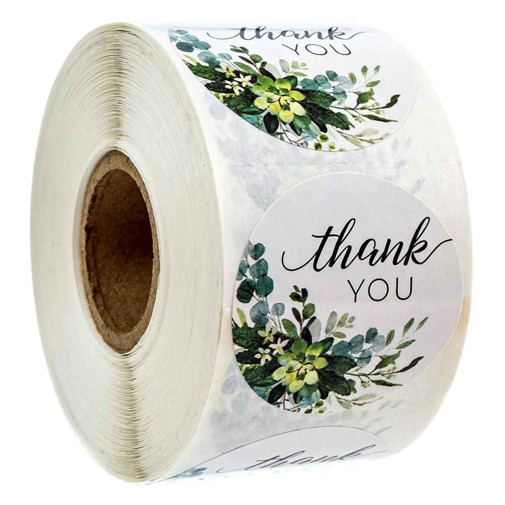 500pcs Per Roll Greenery Floral Thank You Stickers Christmas Gift Decoration Sticker Scrapbooking For Package Stationery Sticker