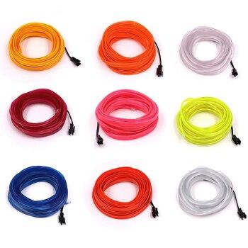 Cable Flexible luz de neón LED DC 3V, 1m, 2m, 3m, 5m, tira de luces de 6MM, tubo de cuerda LED portátil con batería