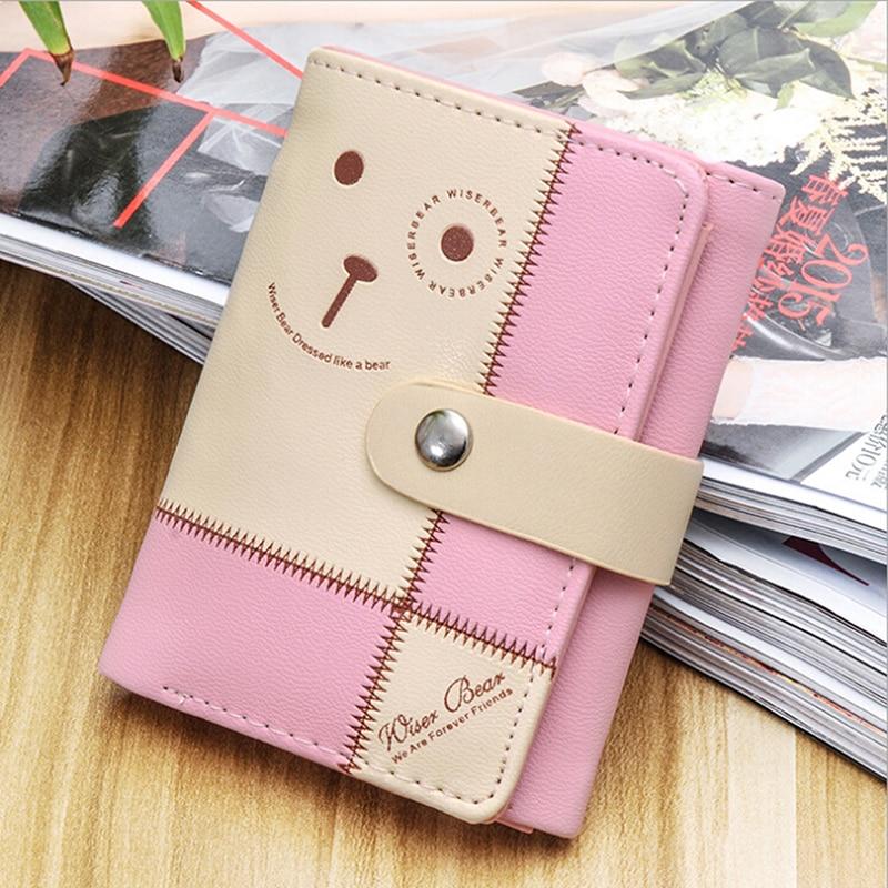 1 Pcs Women Short Wallet Women Mini Bag PU Leather Coin Purse Credit Card Holder Wallets PU Leather Zipper Hasp Ladies Wallet