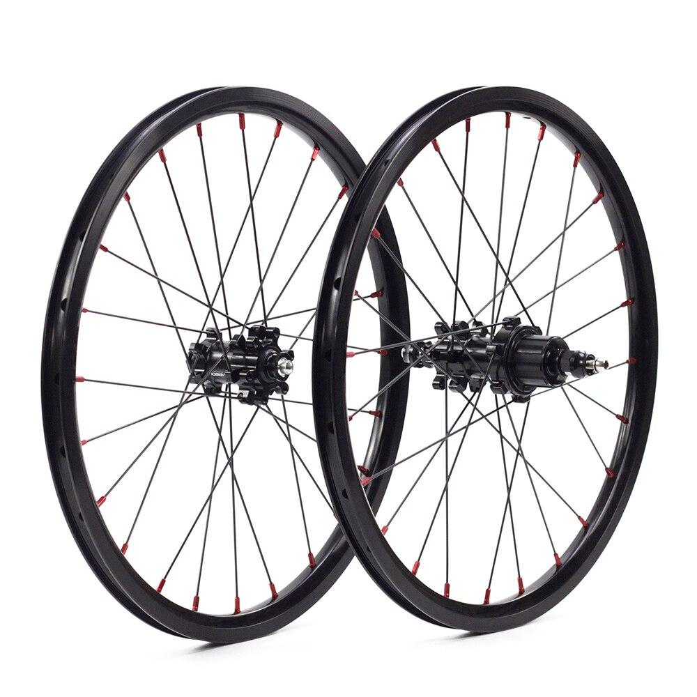 """Spor ve Eğlence'ten Bisiklet Tekerleği'de Silverock alaşımlı bisiklet tekerlekleri 16 """"1 3/8"""" 349 disk fren 24H 1 7 hızlı düz çekin brompton katlanır bisiklet 74mm 112mm tekerlekler title="""