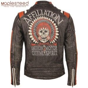 Image 1 - Мотоциклетная кожаная куртка с вышивкой черепов, винтажная Байкерская кожаная куртка из 100% натуральной воловьей кожи, зимняя мотоциклетная одежда M220
