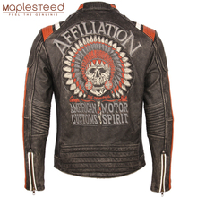 Jaqueta de couro vintage para motociclista, caveira bordada, 100% couro bovino genuíno, casaco de couro para motociclista, roupas de inverno m220