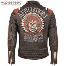 เย็บปักถักร้อย VINTAGE Skulls รถจักรยานยนต์แจ็คเก็ตหนังแท้ 100% Moto BIKER หนัง Coat ฤดูหนาวมอเตอร์เสื้อผ้า M220