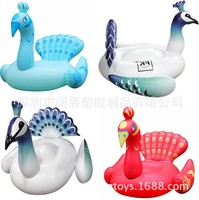 Environmentally Friendly Thick 190 Cm Adult Inflatable Water Peacock Floating Row Floating Bed Recliner Red Peacock Blue Peacock
