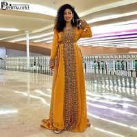 Caftán marroquí dorado y amarillo, vestidos de caftán bordados de noche, bata nueva de noche 2020, Vestidos de Noche de manga larga, vestido Formal