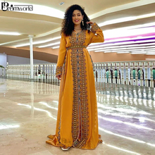 Dresses Evening-Gowns Robe-De-Soiree Caftan Long-Sleeve Moroccan Yellow Gold New Embroidered