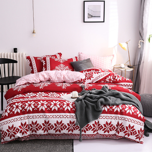 Image 5 - New Christmas Snowflakes Home bedding set 3/ 4pcs duvet cover set AB side bed linen flat sheet bedclothes adult Geometric