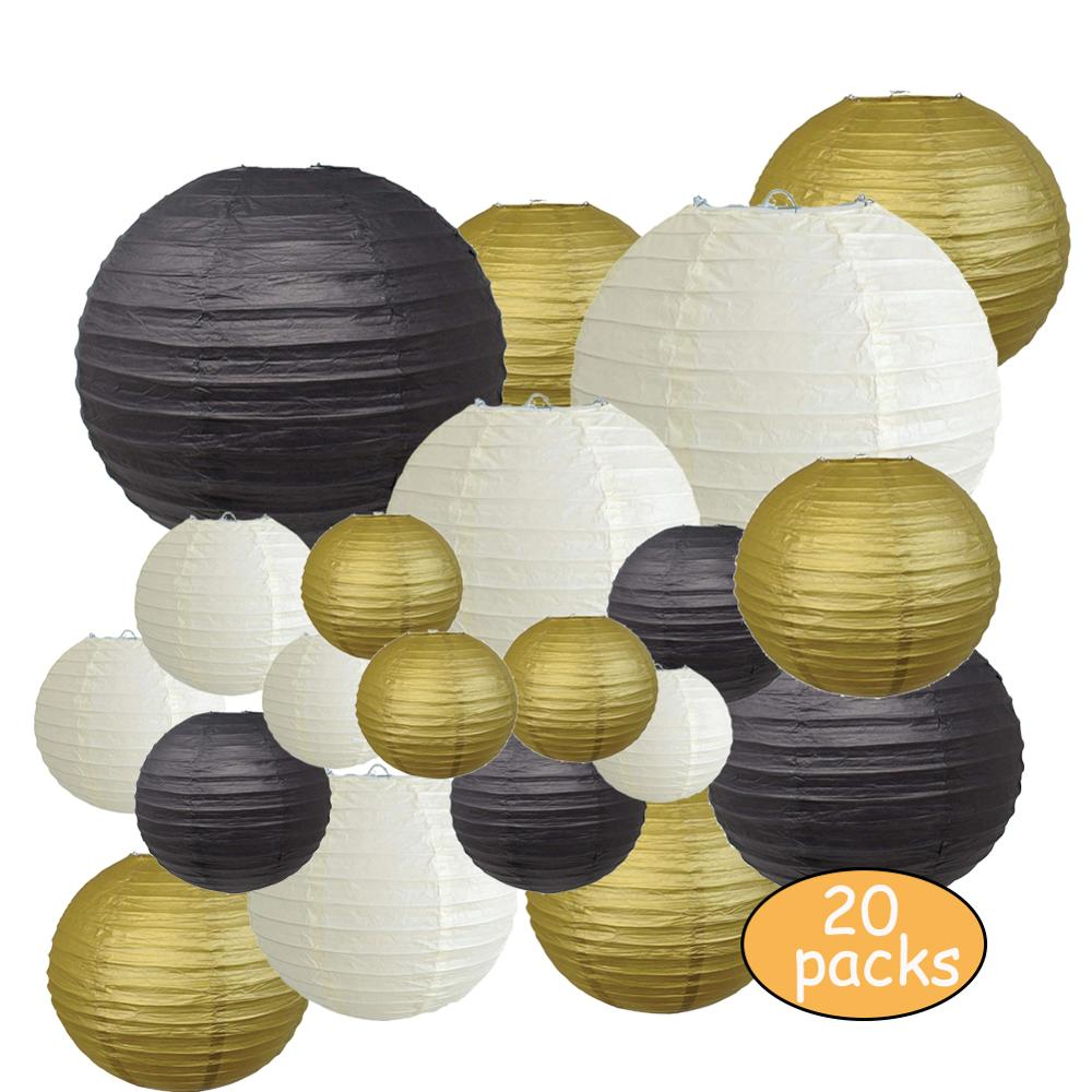 Decorative Party Paper Lanterns 20 Pcs Gold Beige Black Round Japanese/Chinese Lantern Lanterne Papier For Wedding Outdoor Decor