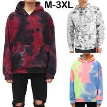Мужской модный пуловер толстовка с галстуком краситель повседневные свободные толстовки с капюшоном унисекс Зимние хлопковые теплые толстовки M-3XL