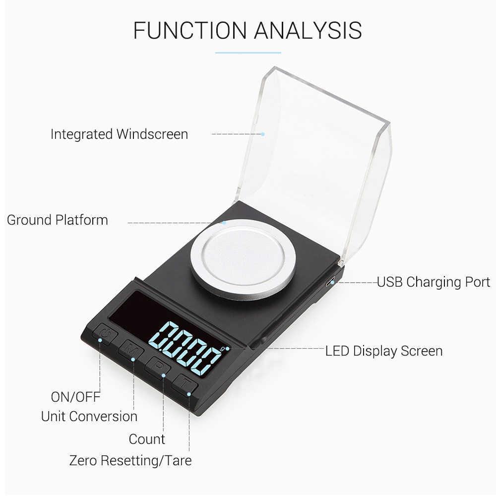 Escala digital do pó da escala da joia do ouro escala mini escala eletrônica do bolso escala profissional do miligrama de digitas alta precisão