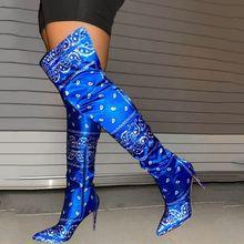 Модные мягкие женские сапоги выше колена на высоком каблуке с банданами высокие ботинки на тонком каблуке с боковой молнией для женщин; Бол...