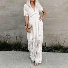 цена на Echoine Women White Dress Lace Hollow Out V-neck Maxi Dresses Female Boho Beach Long Sundress  Crochet Lace Elegant Vestidos