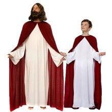 Umorden wielkanoc Purim kostium na Halloween rodzina pasujące kostiumy z jezusem chrystusem jezus Cosplay szaty dla mężczyzn chłopców dzieci