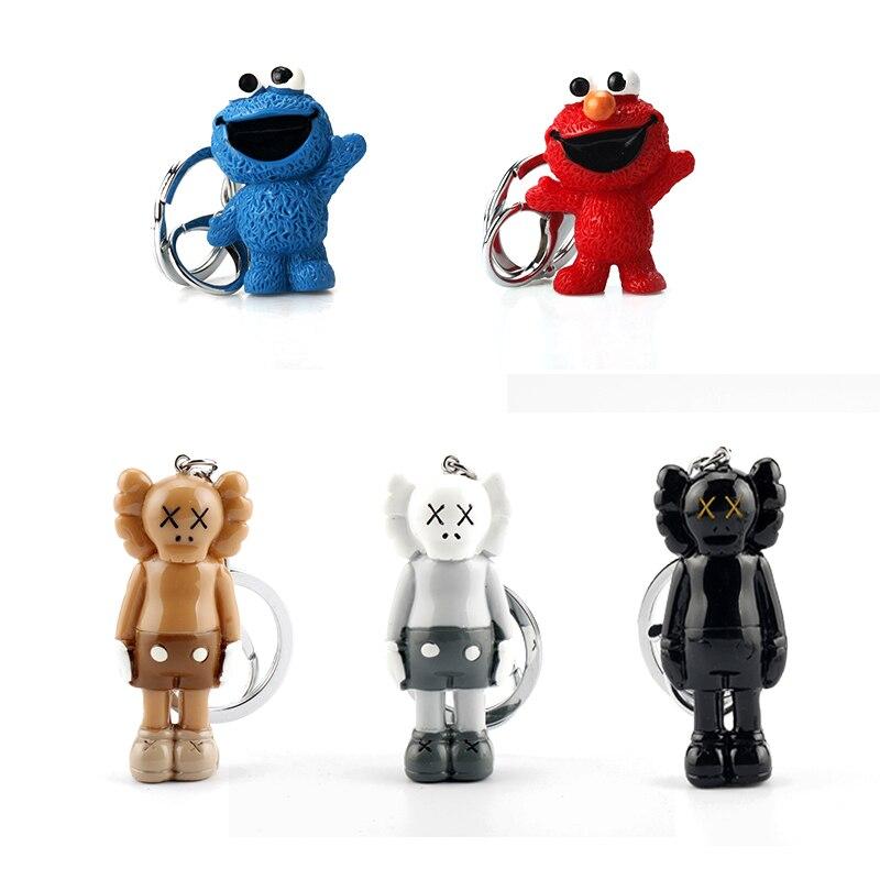 Anime Sesame Street PVC Figure Mini Keychain Cookie Monsters Doll Toys Pendant Key Chain For Children Kids Gift Cartoon Llaveros