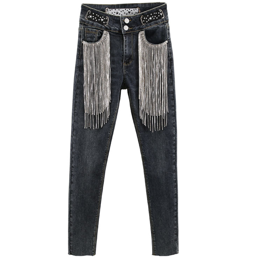 Rhinestone Tassel Personality Jeans Women 2020 Spring New  FASHION High Waist Slim Stretch Hole Pencil JEANS