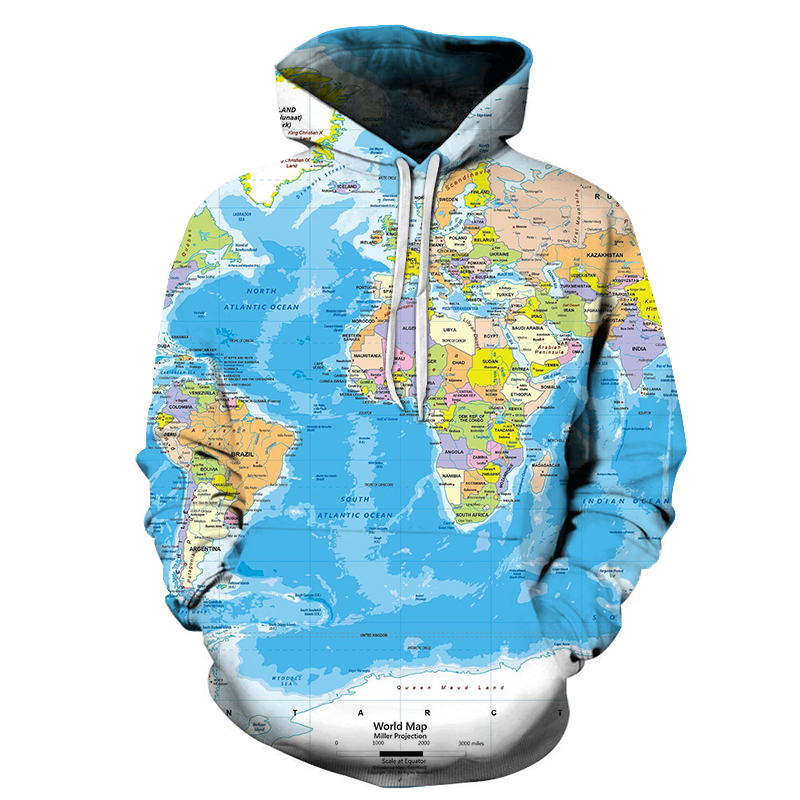 World Map Printed Sweatshirt Hoodies Men Hip Hop 3D Streetwear For Male Long Sleeve Outwear Homme Hoody Asian Size S-6xl